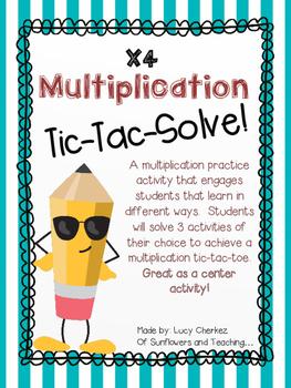 X4 Multiplication Tic-Tac-Solve - NO PREP center activity!