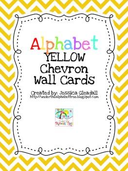 YELLOW chevron ABC wall cards
