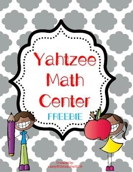 Yahtzee Math Center Freebie