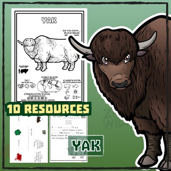 Yak -- 10 Resources -- Coloring Pages, Reading & Activities
