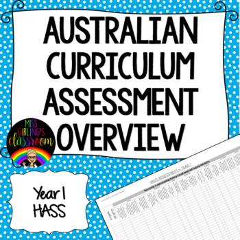 Year 1 HASS Australian Curriculum Assessment Overview