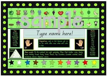 Year 1 LITERACY desk mat in Beginners Font