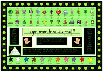Year 1 LITERACY desk mat in Foundation Font