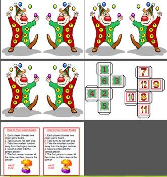 Maths Centre Dice Game - Subtraction Clown (Grade 1/2)