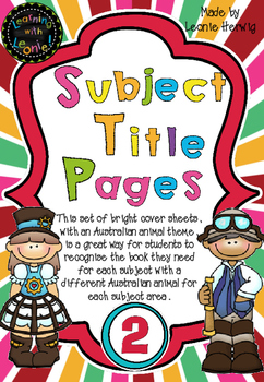 Year 2 Subject Title Pages –Free – Australian Animals
