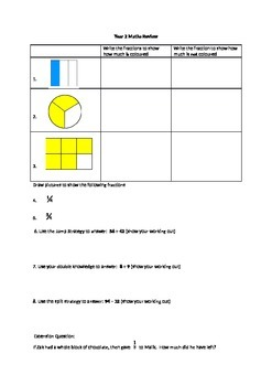 Year 2 maths review - fractions and addition & subtraction