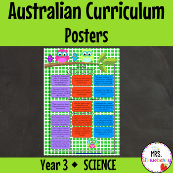 Year 3 Australian Curriculum Posters – Science