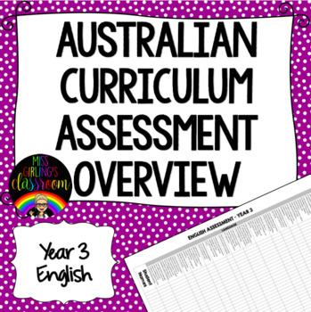 Year 3 English Australian Curriculum Assessment Overview