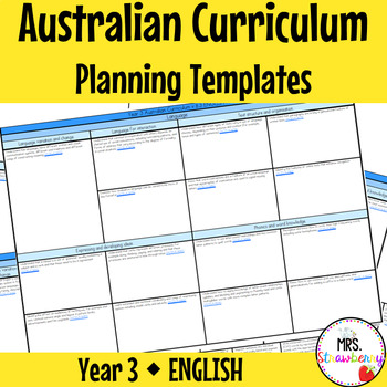 Year 3 Australian Curriculum Planning Templates - English