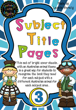 Year 3 Subject Title Pages –Free – Australian Animals