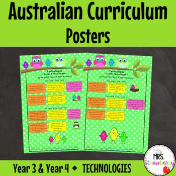 Year 3 & Year 4 Australian Curriculum Posters – Technologies