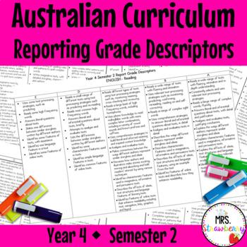 Year 4 Australian Curriculum Reporting Grade Descriptors –