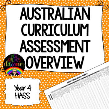 Year 4 HASS Australian Curriculum Assessment Overview