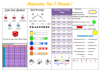 Year 5 Placemat 1
