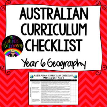 Year 6 Geography - Australian Curriculum Checklist