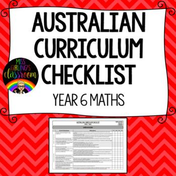 Year 6 Maths - Australian Curriculum Checklist