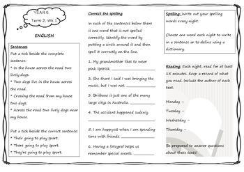 Year 6 Queensland Homework Sheets Unit 3 Weeks 1 - 3