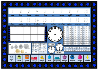 Year Grade 1 MATHS NUMERACY desk mat in Foundation Font
