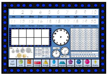 Year Grade 1 MATHS NUMERACY desk mat in Vic Mod Cursive