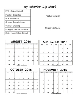 Year-Long Clip Chart Recording Form