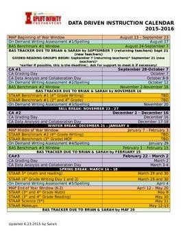 Year Long Data Driven Instruction Calendar