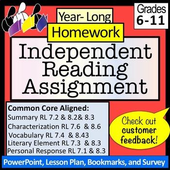 Homework: Year-Long, Independent Reading: NO PREP!