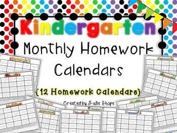 Kindergarten Monthly Homework Calendars {12 Calendars Full