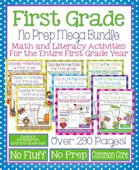 Year Long No Prep Math and Literacy Mega Packet for First