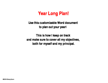 Year Long Plan