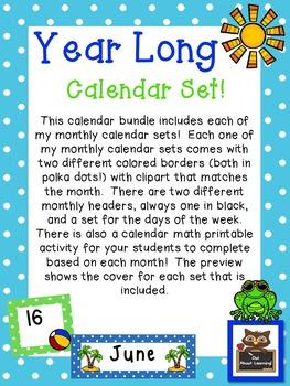 Year Long Polka Dot Calendar Set!