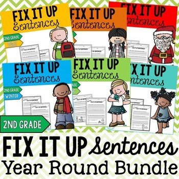Year Round Editing Sentences Bundle: Second Grade, Capital