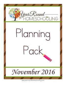 Year Round Homeschooling November 2016 Planning Pack