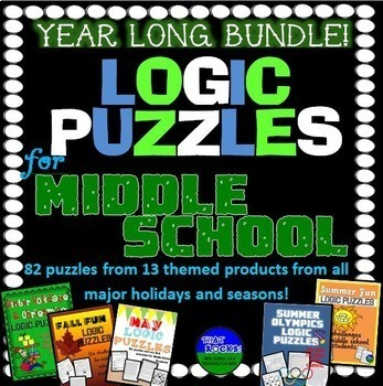 Year Round Logic Puzzle Bundle for Middle School! by That Rocks Math Science and ELA