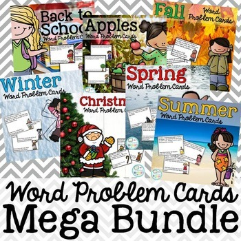 Year Round Word Problem Cards Bundle: Addition, Subtractio