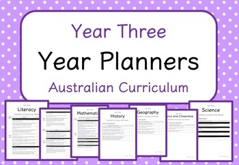 Year Three - Year Planners BUNDLE! (Australian Curriculum)