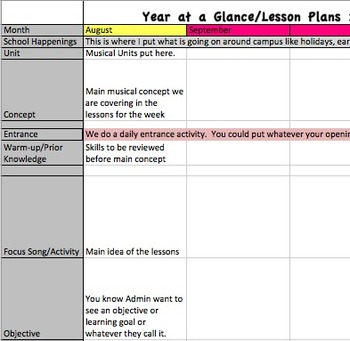 Year at a Glance Lesson Plan Template for Music Teachers