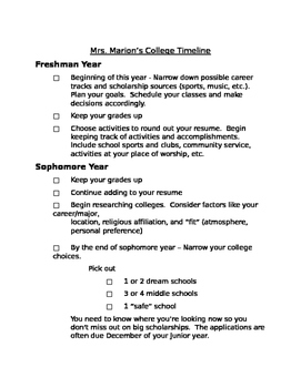 Year-by-Year College Acceptance Outline