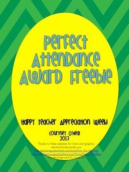 Year-long Perfect Attendance Award FREEBIE