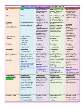 Year of Weekly Lesson Plans English NEW with Freebies!