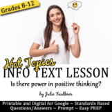 Nonfiction Info Text Lesson on Hot Topics, Positive Thinki