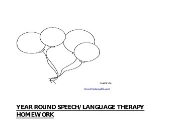 Yearlong Speech/Language Therapy Homework