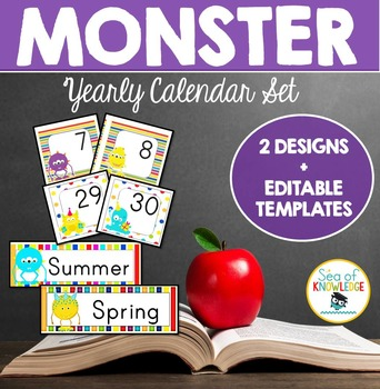 Yearly Calendar Set Monster Theme