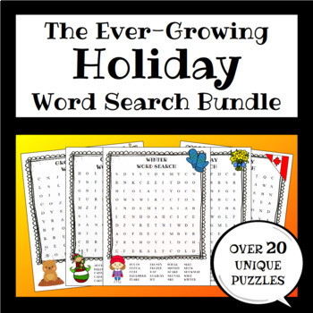 Yearly Holidays Word Search BUNDLE