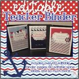 Editable Teacher Binder { Navy & Red Nautical Themed } Tea
