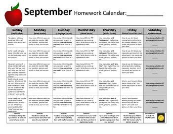 Homework Calendars (SET A) - Reusable Set for the Whole Year