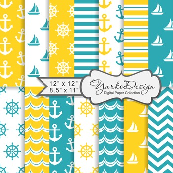 Yellow And Tuquoise Nautical Digital Paper Pack, Geometric