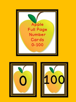 Yellow Apple Full Page Number Posters 0-100