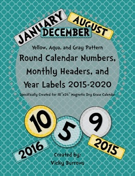 Yellow, Aqua, and Gray Pattern Round Calendar Numbers