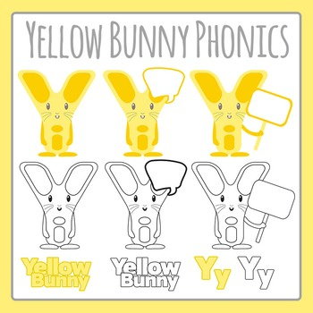 Yellow Bunny Letter Y Phonics Character Clip Art Set for C