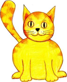 Hand-Drawn Colored Pencil Cat Clip Art PNG Image ~ Transpa